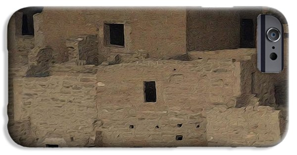 Red Rock Mixed Media iPhone Cases - Mesa Verde Cliff Dwellings iPhone Case by Dan Sproul