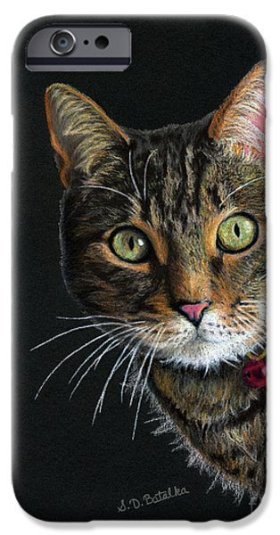 Cat Drawing Drawings iPhone Cases - Mesmer Eyes iPhone Case by Sarah Batalka