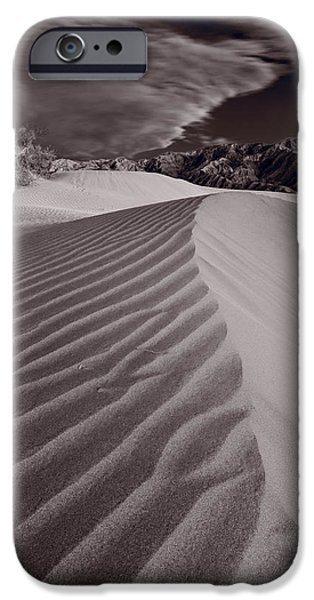 Sand Dunes iPhone Cases - Mesquite Dunes Death Valley B W iPhone Case by Steve Gadomski