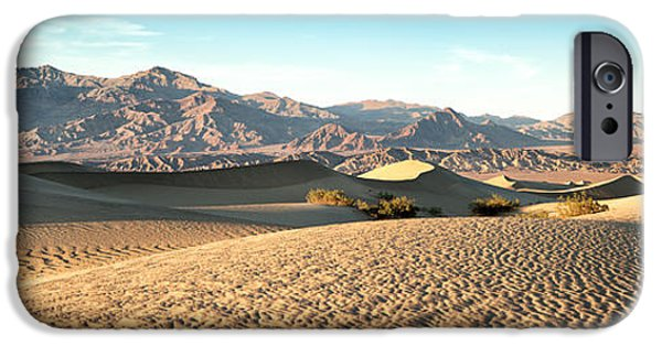 Valley iPhone Cases - Mesquite dunes pano iPhone Case by Jane Rix