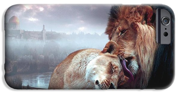 Lions Mixed Media iPhone Cases - Messiah and Israel iPhone Case by Bill Stephens
