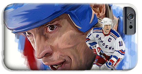Hockey Drawings iPhone Cases - Messier II Mark Messier iPhone Case by Iconic Images Art Gallery David Pucciarelli