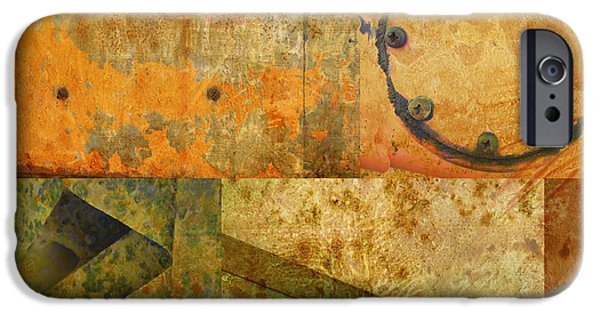 Photo Collage iPhone Cases - Metal Abstract Collage iPhone Case by Ann Powell