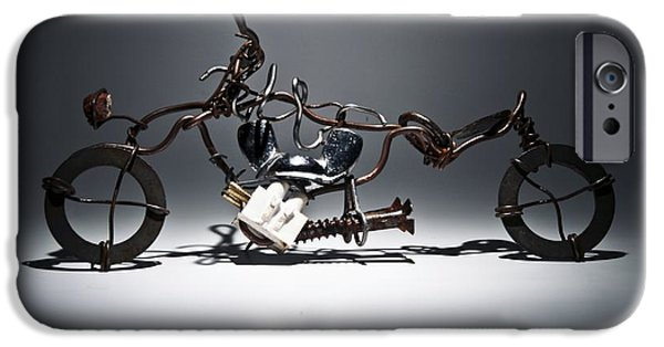 Silver Sculptures iPhone Cases - Metal bike iPhone Case by FL collection