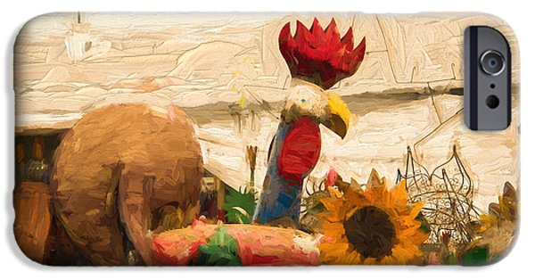 Antiques iPhone Cases - Metal Chicken Visits The Market iPhone Case by JG Thompson