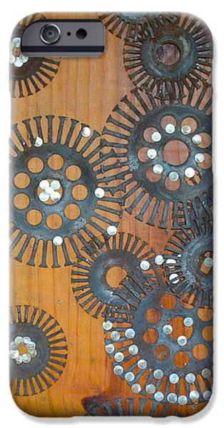 Gloss Varnish iPhone Cases - Metal Flowers I iPhone Case by Jennings Ingram