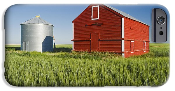 Dave iPhone Cases - Metal Grain Bin And Wooden Grain Bin In iPhone Case by Dave Reede