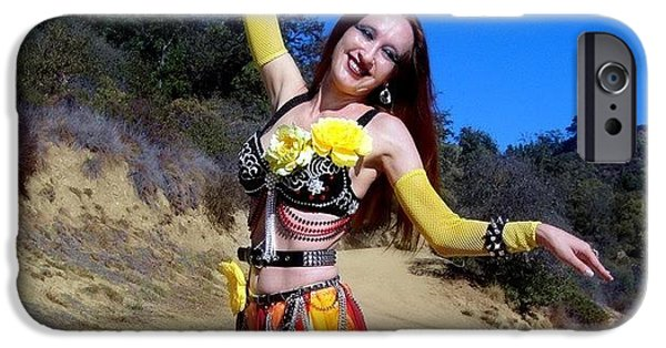 Model Jewelry iPhone Cases - Metal Gypsy fire Sofia belly dance performance iPhone Case by Sofia Gothic Queen of Hell