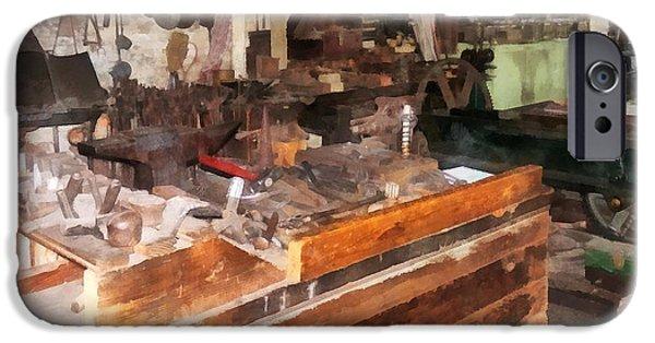 Work Tool iPhone Cases - Metal Machine Shop iPhone Case by Susan Savad