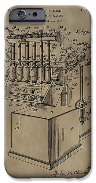 Machinery Mixed Media iPhone Cases - Metal Working Machine Patent iPhone Case by Dan Sproul