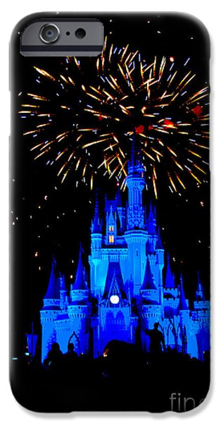 Blue Fireworks iPhone Cases - Metallic Castle iPhone Case by Ryan Crane