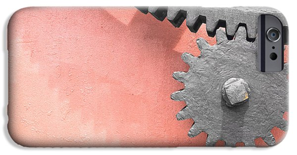 Copy Machine iPhone Cases - Metallic Gear Wheel iPhone Case by Mikel Martinez de Osaba