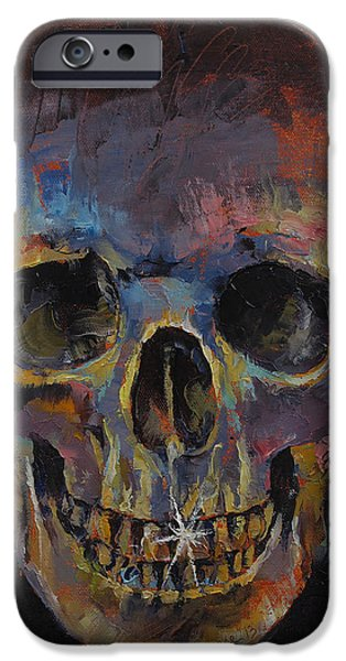 Spooky Paintings iPhone Cases - Skull iPhone Case by Michael Creese