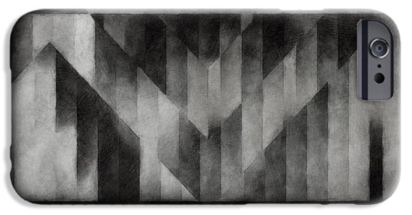 Monotone iPhone Cases - Metaphysical Sketch 2 iPhone Case by LC Bailey