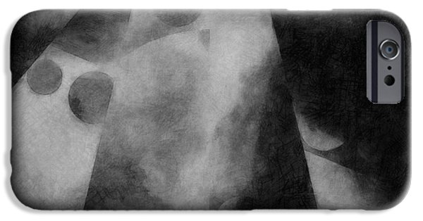Monotone iPhone Cases - Metaphysical Sketch 5 iPhone Case by LC Bailey