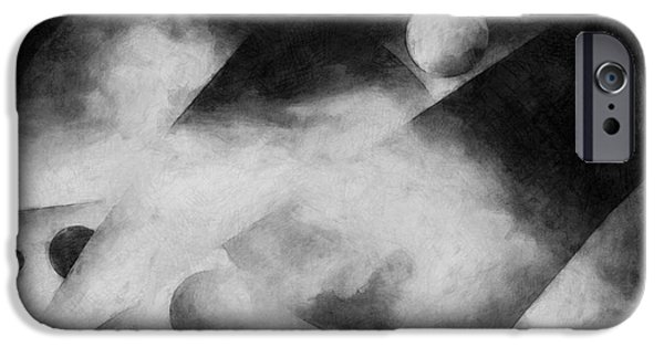 Monotone iPhone Cases - Metaphysical Sketches iPhone Case by LC Bailey