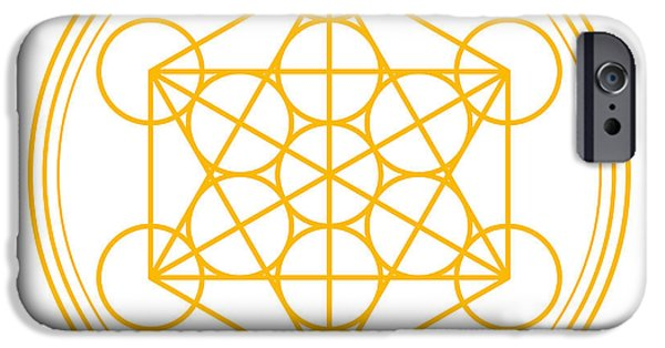 Inauguration iPhone Cases - Metatron Cube Gold iPhone Case by Peter Hermes Furian