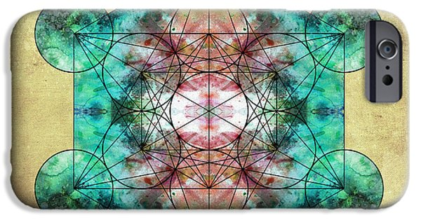 Flower Of Life Digital Art iPhone Cases - Metatrons Cube iPhone Case by Filippo B