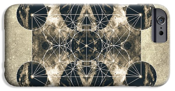 Flower Of Life Digital Art iPhone Cases - Metatrons Cube Silver iPhone Case by Filippo B