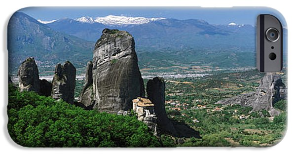 Mountain iPhone Cases - Meteora Monastery Greece iPhone Case by Panoramic Images