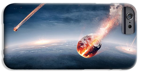 Impacting iPhone Cases - Meteorites on their way to earth iPhone Case by Johan Swanepoel