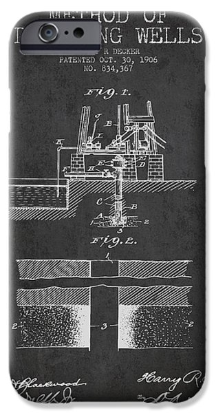Oil Pump iPhone Cases - Method of drilling wells Patent from 1906 - Dark iPhone Case by Aged Pixel