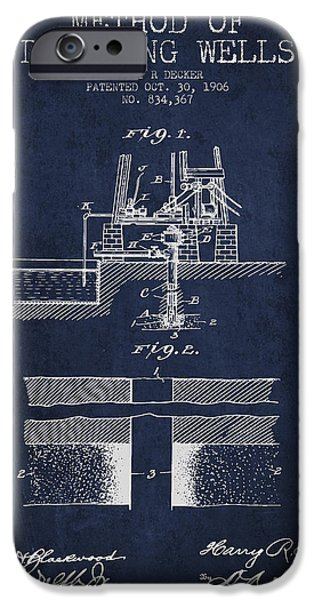 Industry Digital Art iPhone Cases - Method of drilling wells Patent from 1906 - Navy Blue iPhone Case by Aged Pixel