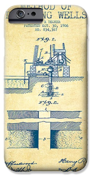 Industry iPhone Cases - Method of drilling wells Patent from 1906 - Vintage Paper iPhone Case by Aged Pixel