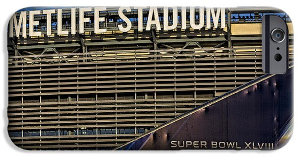 Signs iPhone Cases - Metlife Stadium Super Bowl XLVIII NY NJ iPhone Case by Susan Candelario