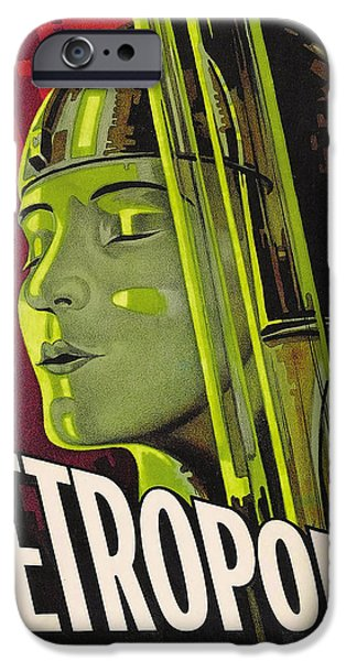 Science Fiction Drawings iPhone Cases - Metropolis Film Poster iPhone Case by German School