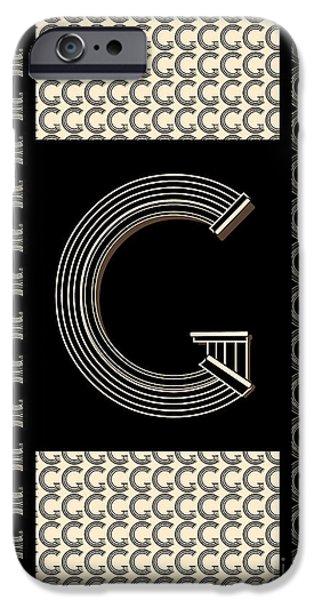 Shower Head Digital Art iPhone Cases - Metropolitan Park Deco 1920s Art  monogram letter initial G iPhone Case by Cecely Bloom