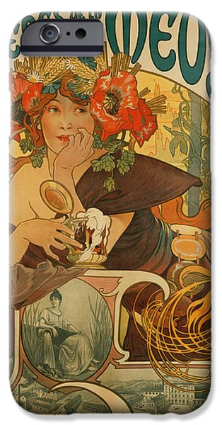Booze iPhone Cases - Meuse Beer iPhone Case by Alphonse Marie Mucha