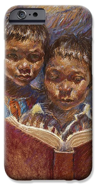 Book Pastels iPhone Cases - Mexican Brothers Reading iPhone Case by Ellen Dreibelbis