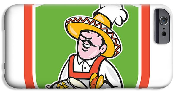 Waiter Digital iPhone Cases - Mexican Chef Cook Shield Cartoon iPhone Case by Aloysius Patrimonio