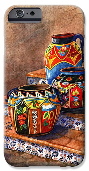 Marilyn Smith Paintings iPhone Cases - Mexican Pottery Still Life iPhone Case by Marilyn Smith