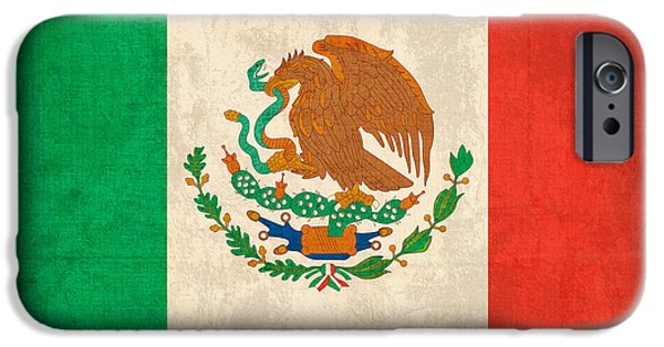 Mexico iPhone Cases - Mexico Flag Vintage Distressed Finish iPhone Case by Design Turnpike
