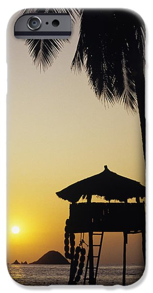 Simple Beauty In Colors iPhone Cases - Mexico, Silhouette Of Beach Bungalow iPhone Case by Bill Schildge