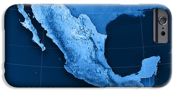 Blue iPhone Cases - Mexico Topographic Map iPhone Case by Frank Ramspott