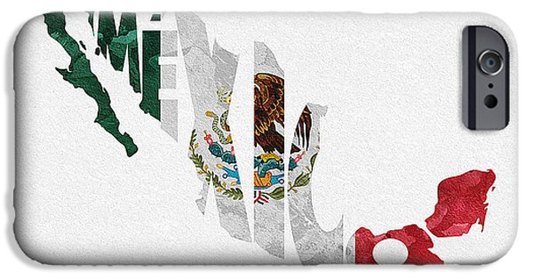 Dirty iPhone Cases - Mexico Typographic Map Flag iPhone Case by Ayse Deniz