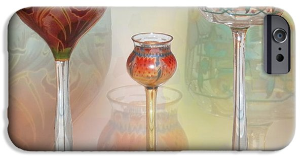 Vintage Glass iPhone Cases - Meyrs Neffe Wine Glasses iPhone Case by Ginny Schmidt