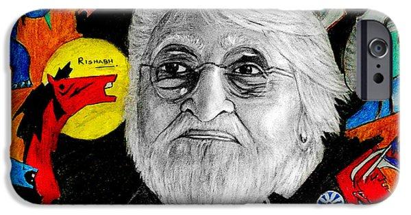 Night Angel Drawings iPhone Cases - M.F. Hussain iPhone Case by Rishabh Ranjan