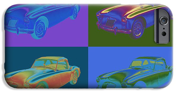 Vehicles iPhone Cases - MG Convertible Sportscar Pop Art iPhone Case by Keith Webber Jr