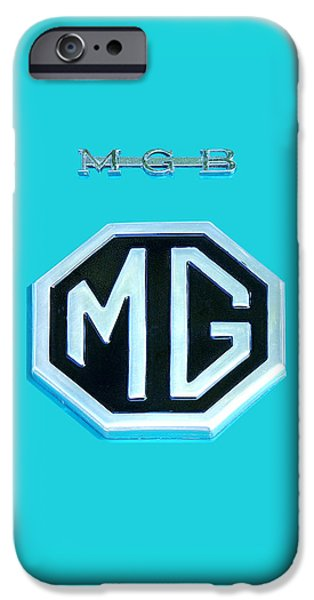 Silver Turquoise iPhone Cases - MGB Emblem on Blue iPhone Case by Gill Billington