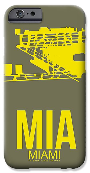 Town Mixed Media iPhone Cases - MIA Miami Airport Poster 1 iPhone Case by Naxart Studio
