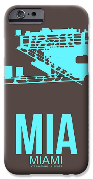 Town Mixed Media iPhone Cases - MIA Miami Airport Poster 2 iPhone Case by Naxart Studio