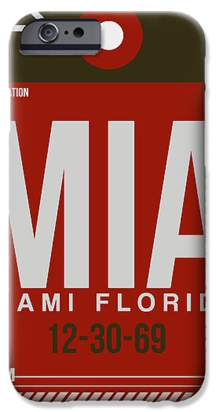 Town Mixed Media iPhone Cases - MIA Miami Airport Poster 4 iPhone Case by Naxart Studio