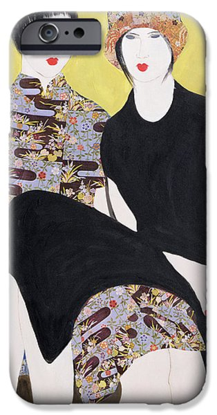 Lips iPhone Cases - Mia Sorella Iii, 2004 Acrylic With Collage On Paper iPhone Case by Susan Adams