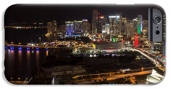 Bay Bridge iPhone Cases - Miami After Dark II Skyline  iPhone Case by Rene Triay Photography