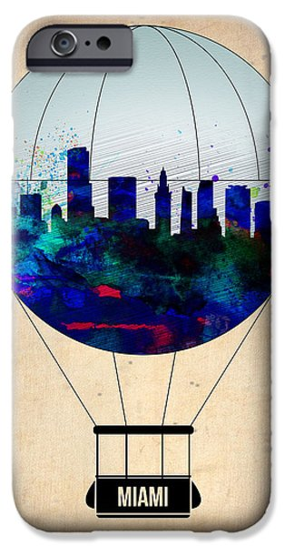 Towns Digital Art iPhone Cases - Miami Air Balloon iPhone Case by Naxart Studio
