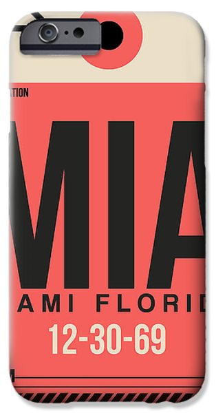 Town Mixed Media iPhone Cases - Miami Airport Poster 3 iPhone Case by Naxart Studio